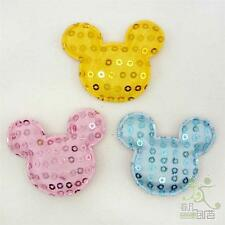10/50 pcs Mixed Yellow/Pink/Blue Padded Felt Micky Sequin Appliques Craft 45MM