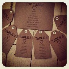 Personalised Manilla Kraft Brown Ivory Card Wedding TABLE PLAN LUGGAGE TAGS