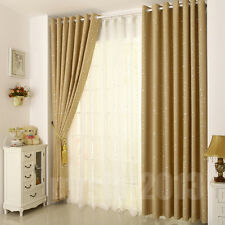 PAIR LUXURY Silk STAR TYPE RING TOP BLACKOUT EYELET READY MADE CURTAINS CURTAIN