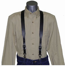 (Special) Black Bridle Leather Suspenders with scissor snaps
