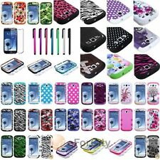 TUFF Hybrid Pattern Hard Case Cover For Samsung Galaxy S3 I9300+LCD Film+Stylus