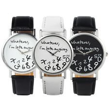 Fashion Funny Whatever I'm Late Anyway Watches New Women's Men's Wrist Watches