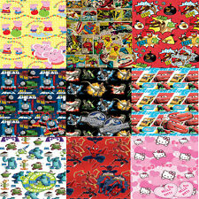Cartoon Character Childrens Birthday Party Theme Gift Wrap Sheet x2 with Tag x2
