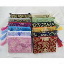 Free shipping wholesale zipper brocade zero wallet silk Jewelry bags Pouch Purse