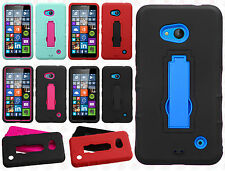 For Nokia Lumia 640 Impact Hard Rubber Kick Stand Case Phone Cover +Screen Guard