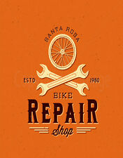 SANTA ROSA BIKE REPAIR SHOP   LARGE METAL TIN SIGN POSTER VINTAGE STYLE PLAQUE