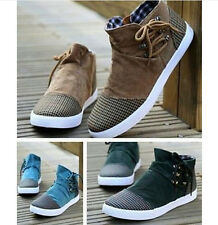Stylish Mens Canvas Casual  Moccasin Driving Shoes Lace Up Slip On Loafers Shoes