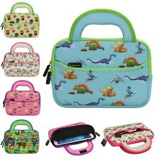 7 ~ 8in Tablet Neoprene Cute Kids Sleeve Travel Carrying Case w/ Handle & Pocket