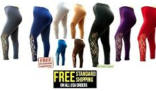 NEW Womens Plus Size Leggings PANTS with  Lace Panel 1X-2X-3X Made in USA JK1000