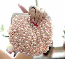 Sweet Pearly Beads Ring Knuckle Clutch Wedding Party Bridal Purse Evening Bag