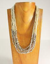 """Handmade Faux Silver & Seed Bead Roxie 20"""" Short Necklace"""