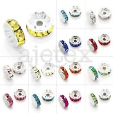 20pcs DIY Spacer Crystal Straight Silver Plated Loose Beads Center Drilled New