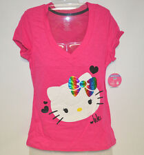 Hello Kitty Pink Rainbow Bow Sleep Tee T-Shirt - Juniors M/L/XL - NWT