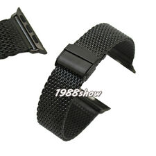 New 38 42 mm Black Stainless Bracelet Adapter Mesh Strap Band For Apple Watch