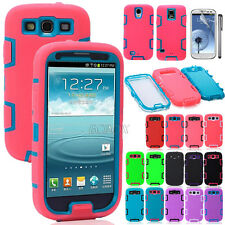Hybrid Dual Layer Shockproof Silicone Hard Case Cover f Samsung Galaxy S3 I9300