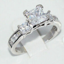 3 Stone Ring Engagement Princess Cut CZ 2.21cttw 925 Sterling Silver Size 5 - 10