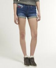 New Womens Superdry Blue Tomboy Denim Shorts Surf Wash Blue SVD