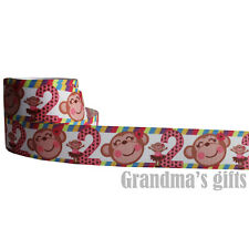 "1""25mm Cartoon Monkey Printed grosgrain ribbon 5/50/100 yards hairbow Wholesale"