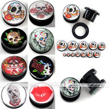 4-24Mm Rose Flower Skull Acrylic Screw Ear Tunnel Plugs Expander Stretcher Gauge