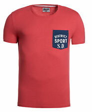New Mens Superdry Factory Second Grindle Contrast T-Shirt Red