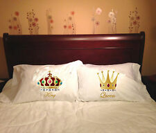 Majestic Royal Couple - King & Queen White Printed DECORATIVE PILLOWS CASES SET.