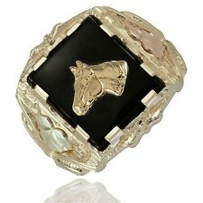 10K Black Hills Gold Mens Horse Ring with Onyx Size 9 to 14