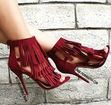 BURGUNDY WINE HIGH HEELS TASSEL FRINGE STILETTO PUMPS OPEN TOE STRAPPY SANDAL BN