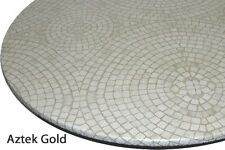 New Mosaic Tan Round Vinyl Fitted Dining Tablecloth Patio Picnic Cover US Made