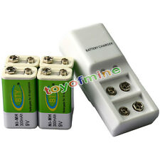 4x 9V BTY Green 300mAh Ni-Mh Rechargeable Battery + Dual Batteries Charger
