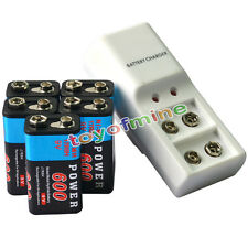 5x 9V Power Black 600mAh Ni-Mh Rechargeable Battery + Dual Batteries Charger