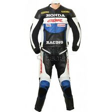 CBR Racing HRC Leather Motorcycle Biker Jacket Pant 2 Pc SUIT in Red Yellow Blue