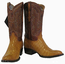 Men's Genuine Crocodile Alligator Exotic Skin Flank Cowboy Western Boots Cognac