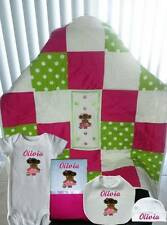 Handmade Personalized Baby Girl Pink Patchwork Quilt Layette Set