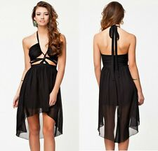 Sexy Women Deep V Neck Black Backless Chiffon See Thru Cutout Party Club Dress