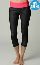 90 Degrees by Reflex Stretch Capris Black with Neon band - XSmall - NWT