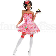 Ladies Sexy Pink Cupcake Girl Katy Perry Womens Fancy Dress Costume Teen NEW