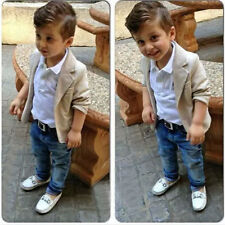 Outfits!3PCS NEW Baby Boy gentleman leisure coat+shirt+denim trousers fit 12M-8T