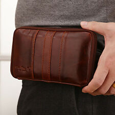 Men Genuine Leather Cell Phone Case Cover Belt Pouch Fanny Pack Waist Clutch Bag