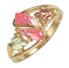 10K Black Hills Gold Ladies Ring with Pink CZ Size 4 to 10