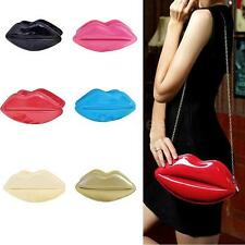 Lip Design Women Patent Leather Shouder Handbag Purse Cocktail Clutch Makeup Bag