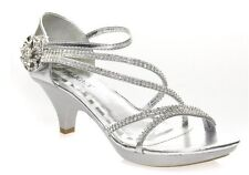 New Women's Fashion Sexy Med Heel Rhinestone Strappy Party Dress Sandals Silver