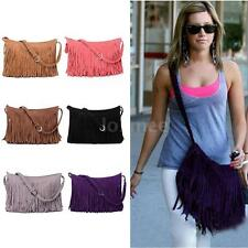 Women Fringe Handbag Faux Suede Leather Cross Body Messenger Shoulder Bag Purse