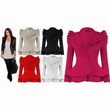 Kim Kardashian Puff Shoulder Coats Peplum Frill Celeb Blazer Shift Top Jacket