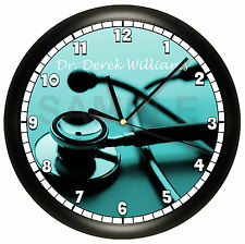 PERSONALIZED DOCTOR WALL CLOCK STETHOSCOPE PHYSICIAN OFFICE GIFT NURSE MEDICAL