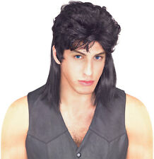 Mullet Wig Redneck Black Hair Costume Mulett Red Neck Hill Billy Adult Mens NEW