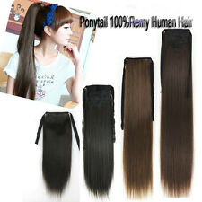 50g 40cm~55cm Ribbon Ponytail Hairpiece Clip IN Virgin Human Hair Extension