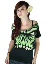 Too Fast Monster Face Crop Top Zombie Leopard Goth Punk Rockabilly Pinup Tattoo