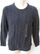 BANANA REPUBLIC Men's Navy Blue Cable Knit Crew Neck Sweater Size M,L,XXL NWT
