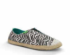 Sanuk Women's Runaround Jute Zebra Animal Print Slip On Sidewalk Surfers Shoes