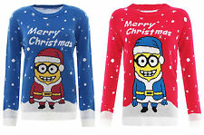CHILDRENS KIDS RED & BLUE MINION XMAS NOVELTY KNITTED JUMPER AGE 3-12 YEARS
